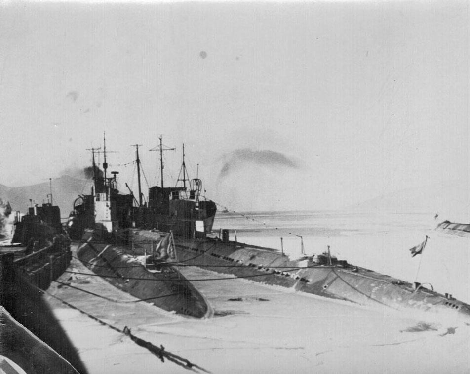 Лодки 171 бригады на зимовке в бухте Нагаева.