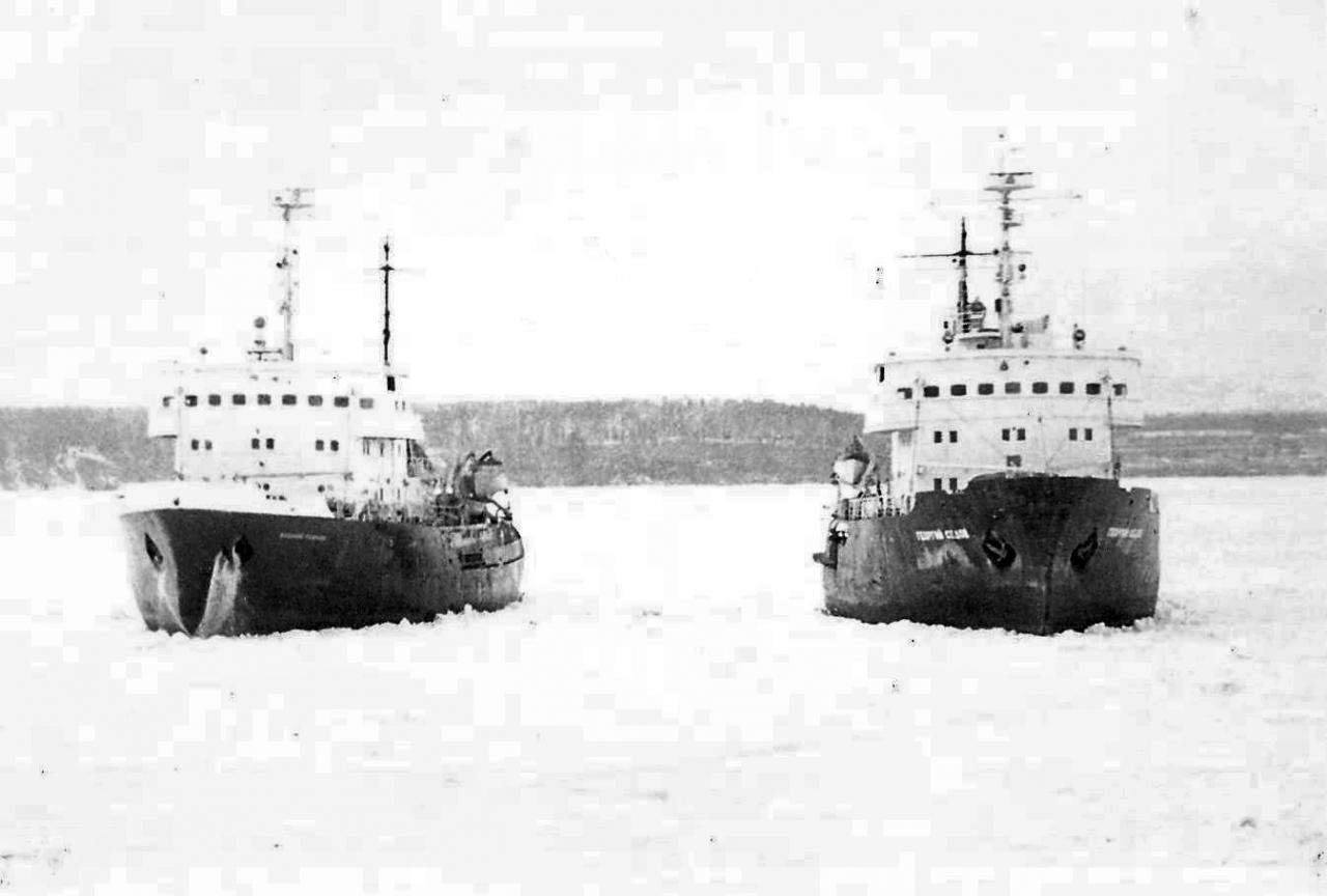 Ледоколы проекта 97А «Ерофей Хабаров» и «Георгий Седов» в Татарском проливе.