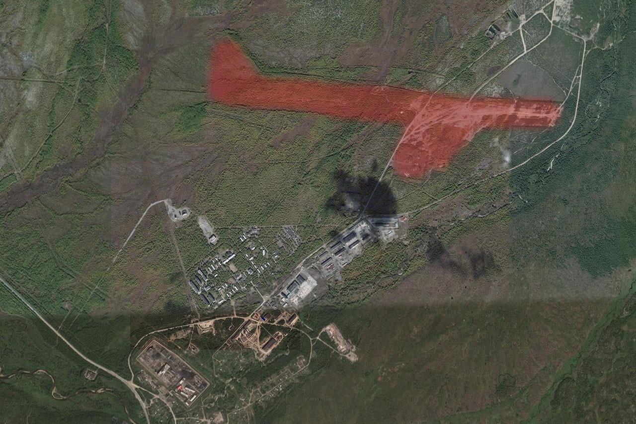Примерное расположение бывшего аэродрома «Магадан-47/3 (Северный)».