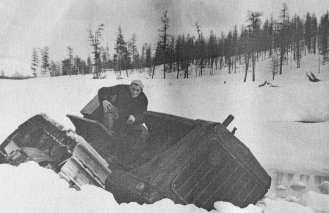При заброске партии провалился трактор. 12956 год. Фото из архива Елены Афанасьевой-Демчук.