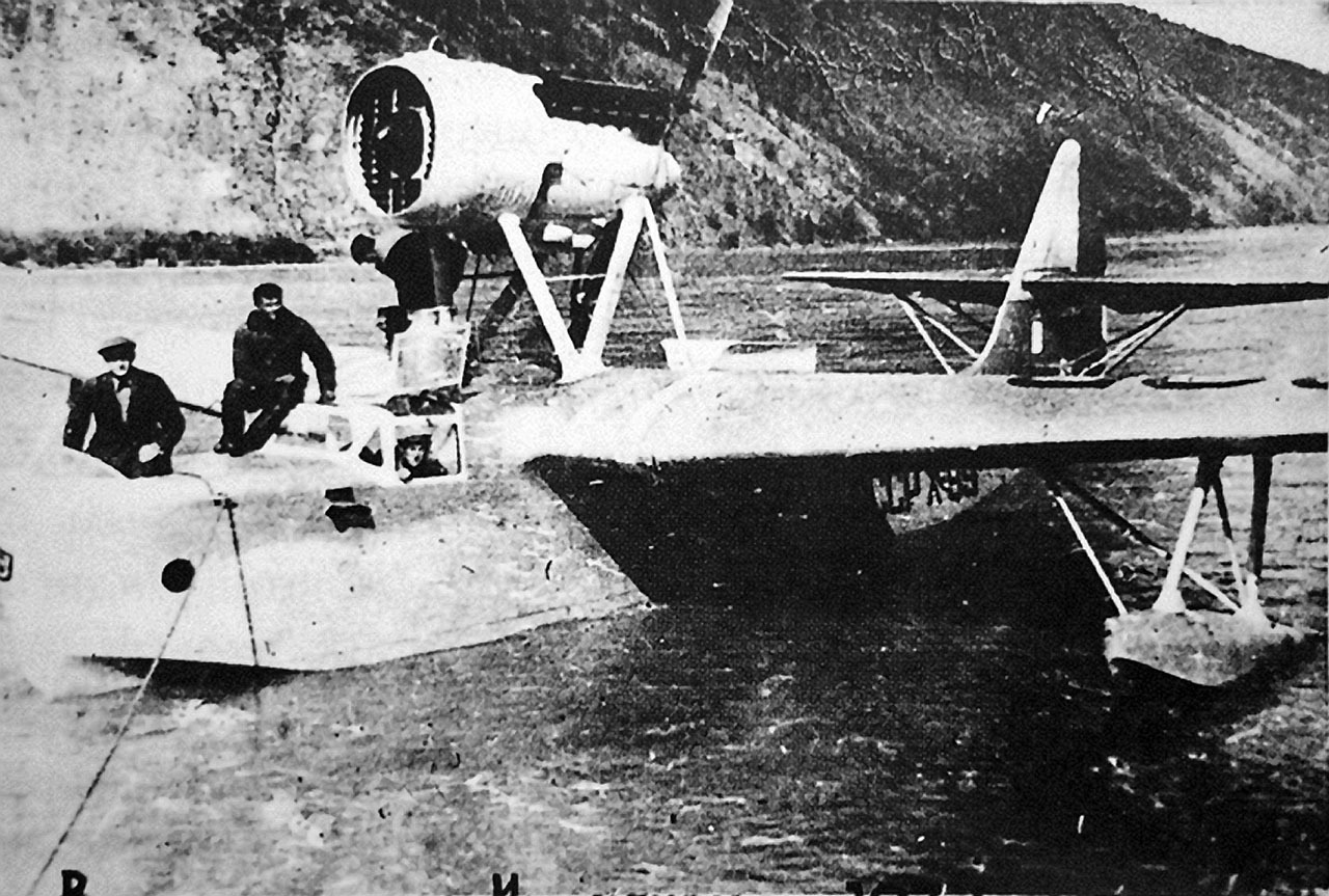 Летающая лодка МБР-2 авиаотряда Дальстроя на Индигирке.