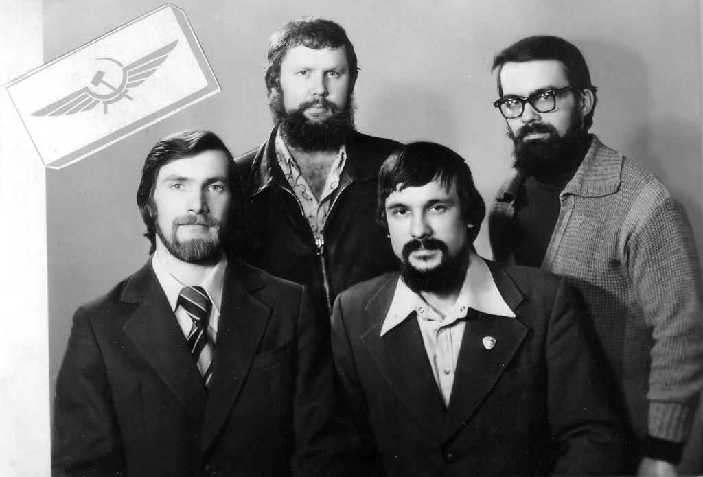 Слесари-сборщики вертолётов, 1979 год. Слева направо: Александр Луговой, Юрий Самохвалов, Ринат Фаткулов, Александр Глущенко.