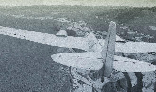 Самолет ПС-40 (АНт-40) над долиной реки Армань. 40-е годы ХХ века