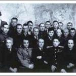 Участники Второй конференции геологов Дальстроя.  Главное управление Дальстоя, 1944 г., Магадан. В первом ряду второй слева - А.К. Болдырев