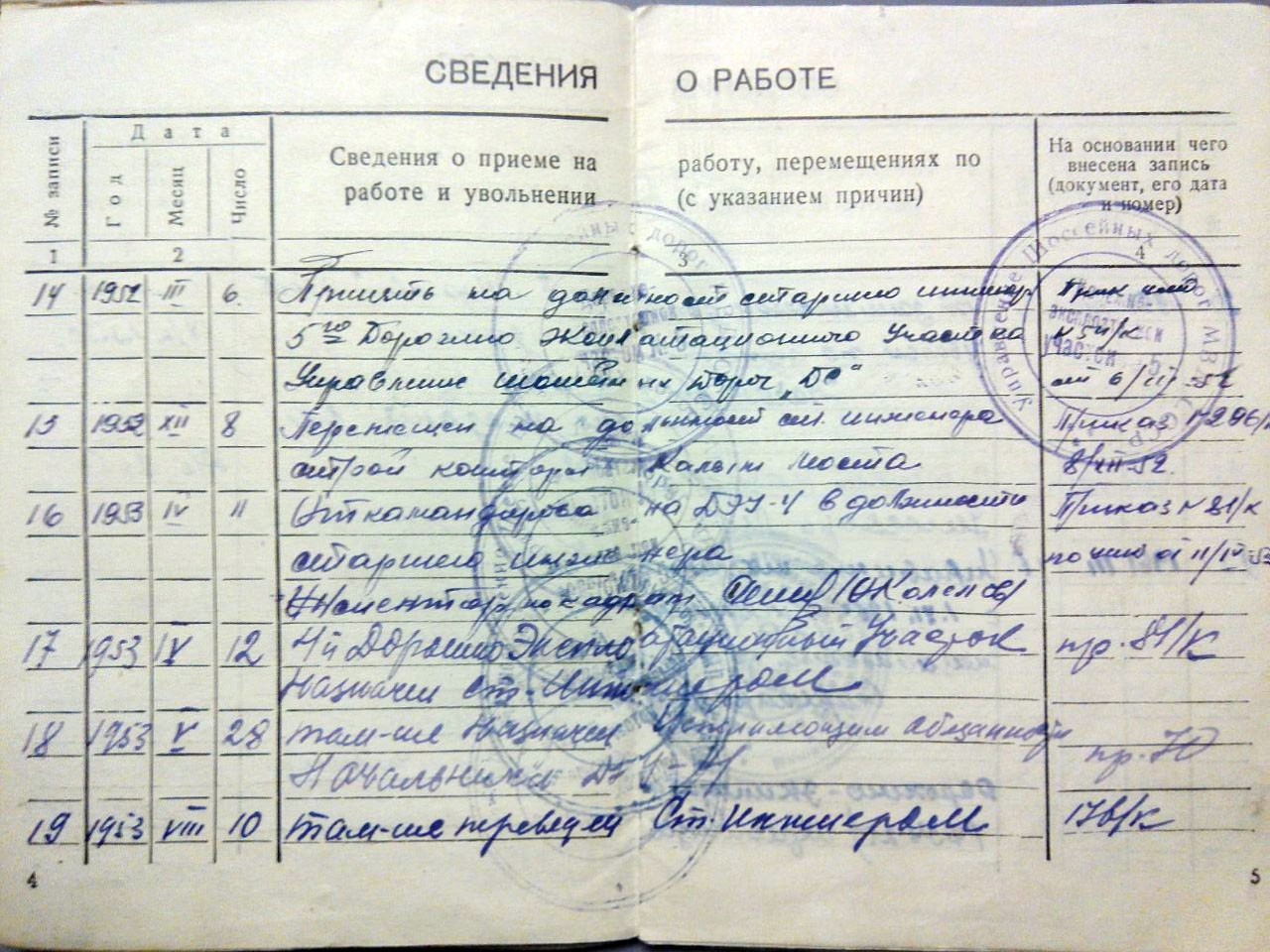 Лист из трудовой книжки Буценина Александра Ивановича.