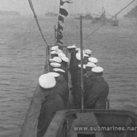 Подводная лодка Щ-105 на морском параде Морских сил Дальнего Востока в бухте Новик. 5 мая 1934 года.
