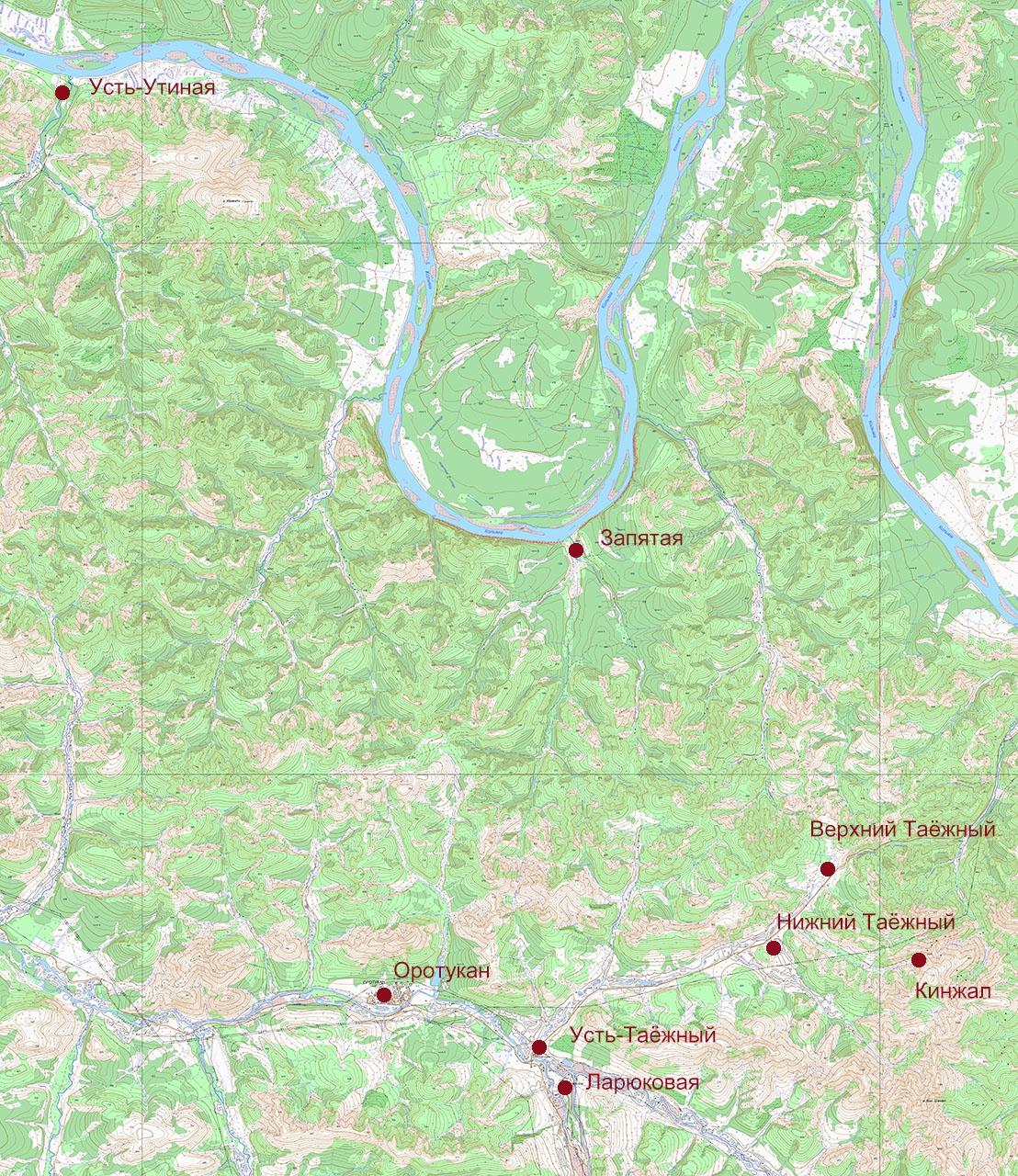 Карта расположения посёлков и объектов рудника «Кинжал».