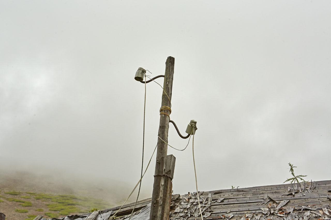 Электричество в центральном поселке было. Гусак над одним из домов.