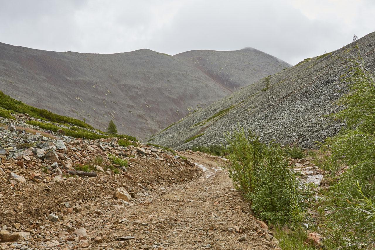 Дорога к горному участку «Эдванс». За спиной остался лагерь «Урчанский», а дорога ведет нас к перевалу. Рудник Урчан.