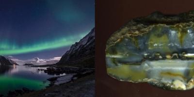 Aurora borealis. Агат, р. Рывеем (Чукотка).