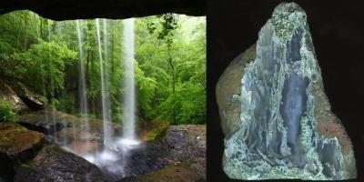 Вид из пещеры на водопад. Моховой агат, Ольское плато.