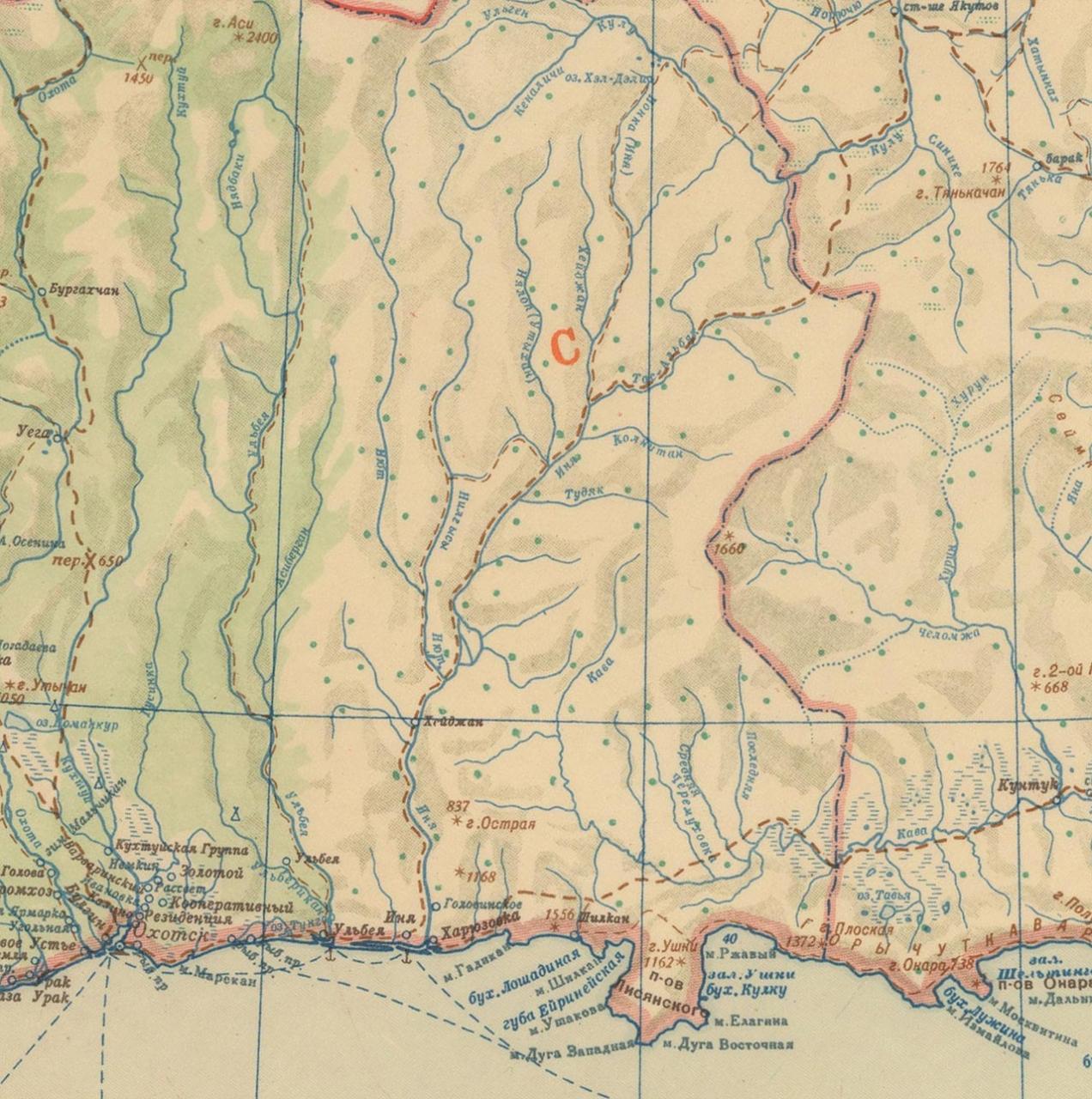 Карта побережья Охотского моря. Район Охотска. 1946 год.