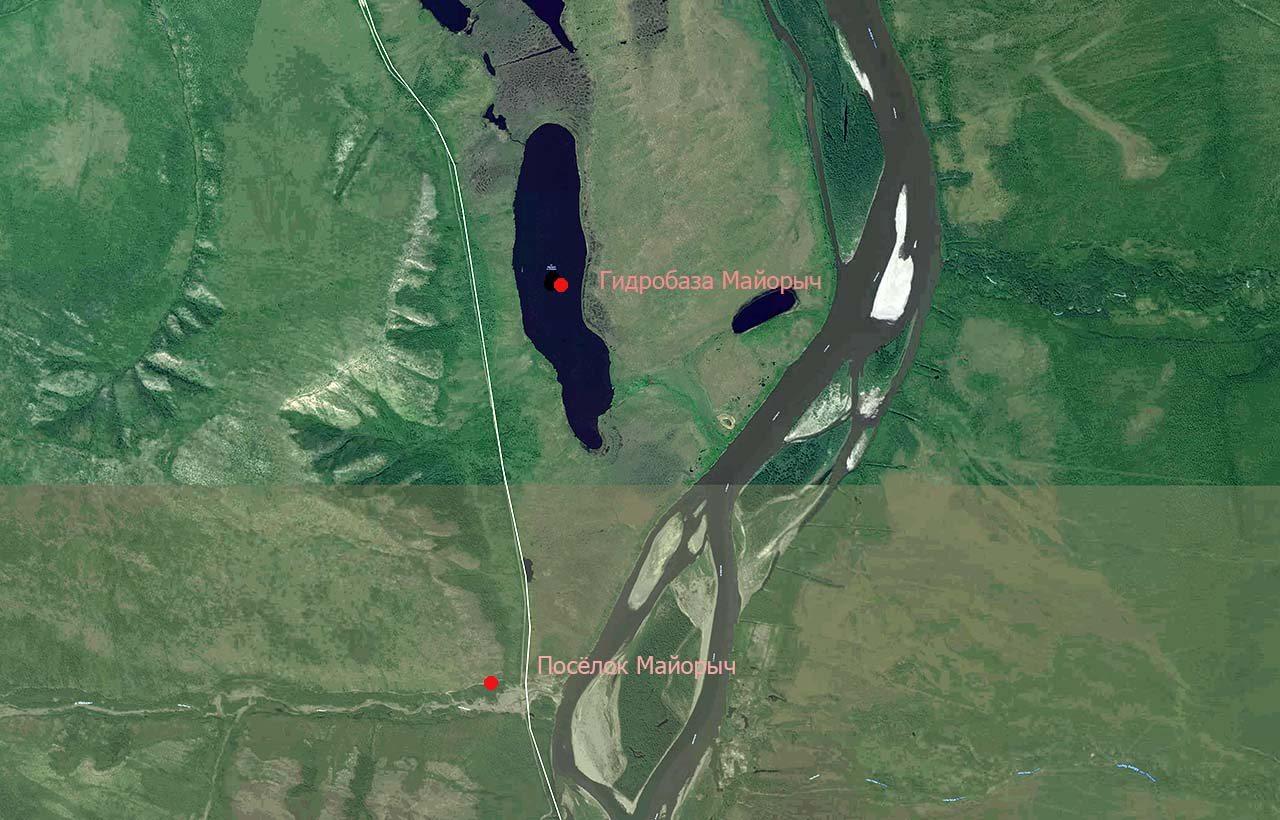 Предположительное расположение гидробазы и посёлка Майорыч.