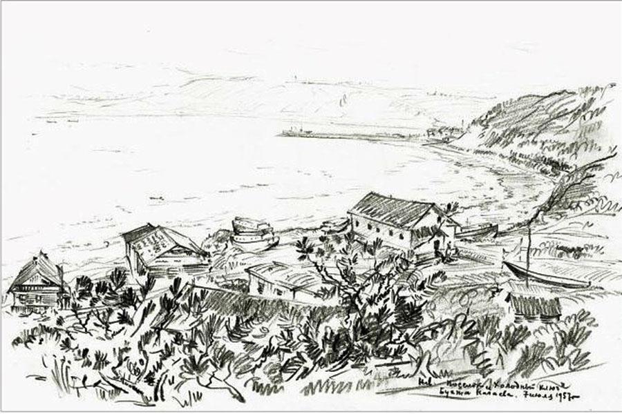 Рисунок Николая Ларина. Посёлок Холодный ключ. Бухта Нагаева. 1957 год.