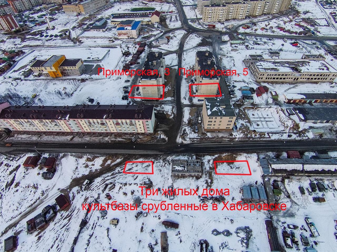 Примерное расположение зданий культбазы.