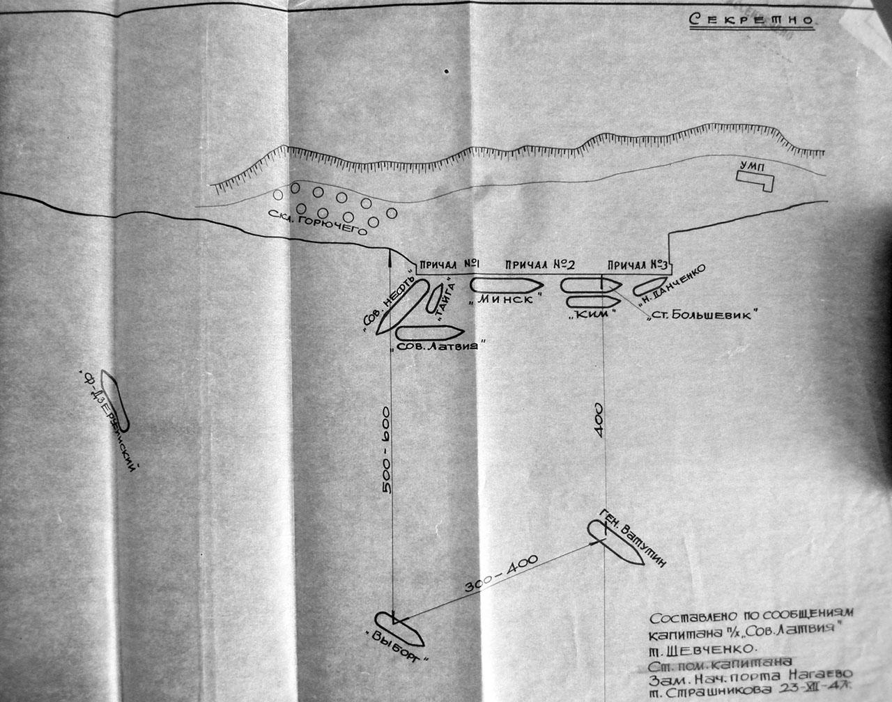 Схема расположения судов у причала морского торгового порта в бухте Нагаева на 19 декабря 1947 года. Составлено по словам капитана «Советская Латвия» Шевченко.