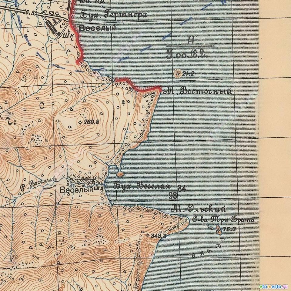 Карта бухты Весёлой. 1938 год.