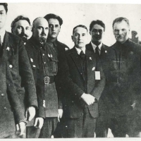 На снимке среди награжденных дальстроевцев 2-й справа – Я.Я. Пуллериц, третий слева - Э.П. Берзин. Москва, Кремль,  1935 г.