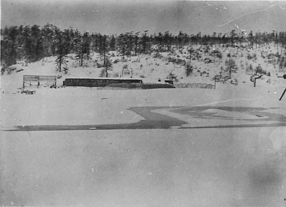 Устье реки Марчекан и постройки Дальстроя. Ноябрь 1932 года.