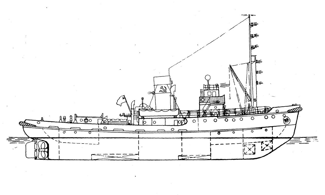 Буксирный морской пароход. Проект Фин-800. Вид сбоку.