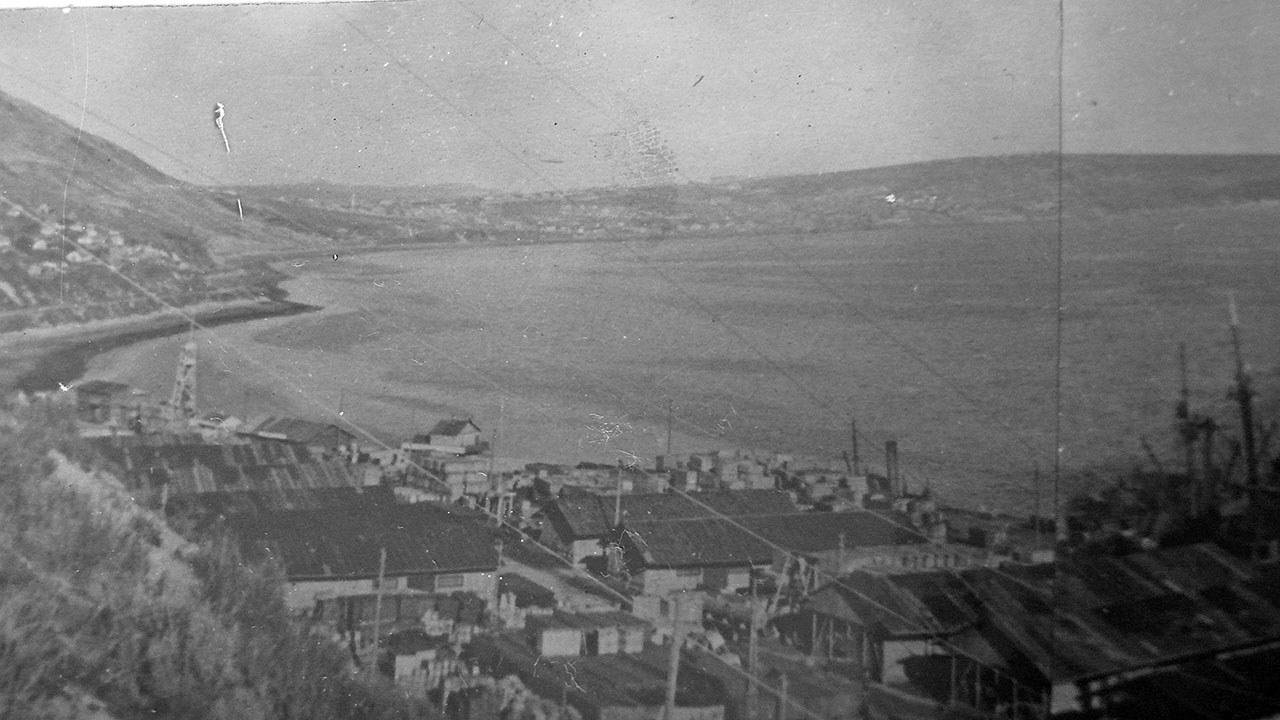 Морской торговый порт. 30-е годы. В левом углу виден поселок Березовый мыс и сам мыс.