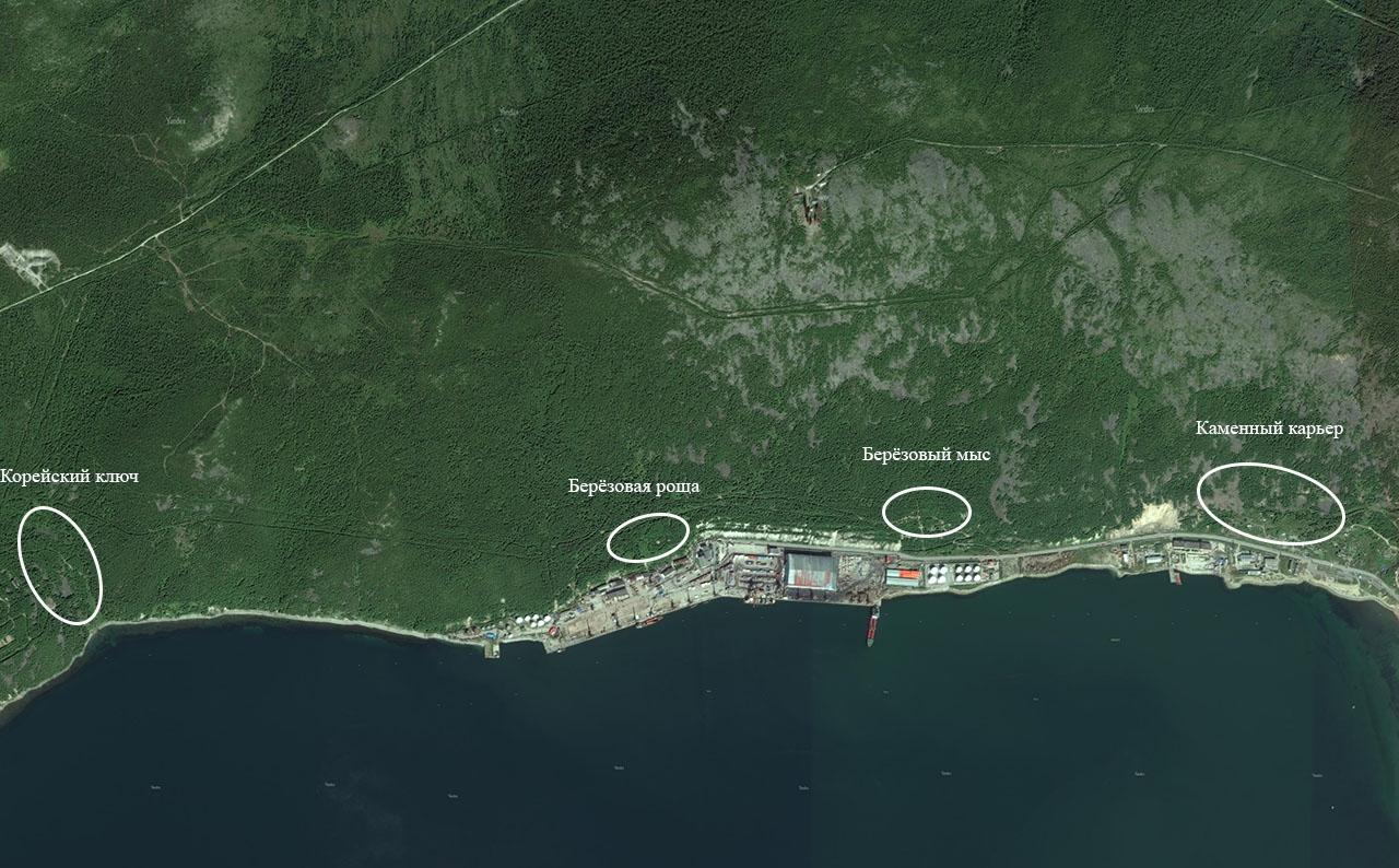 Примерное расположение поселков у морского порта.
