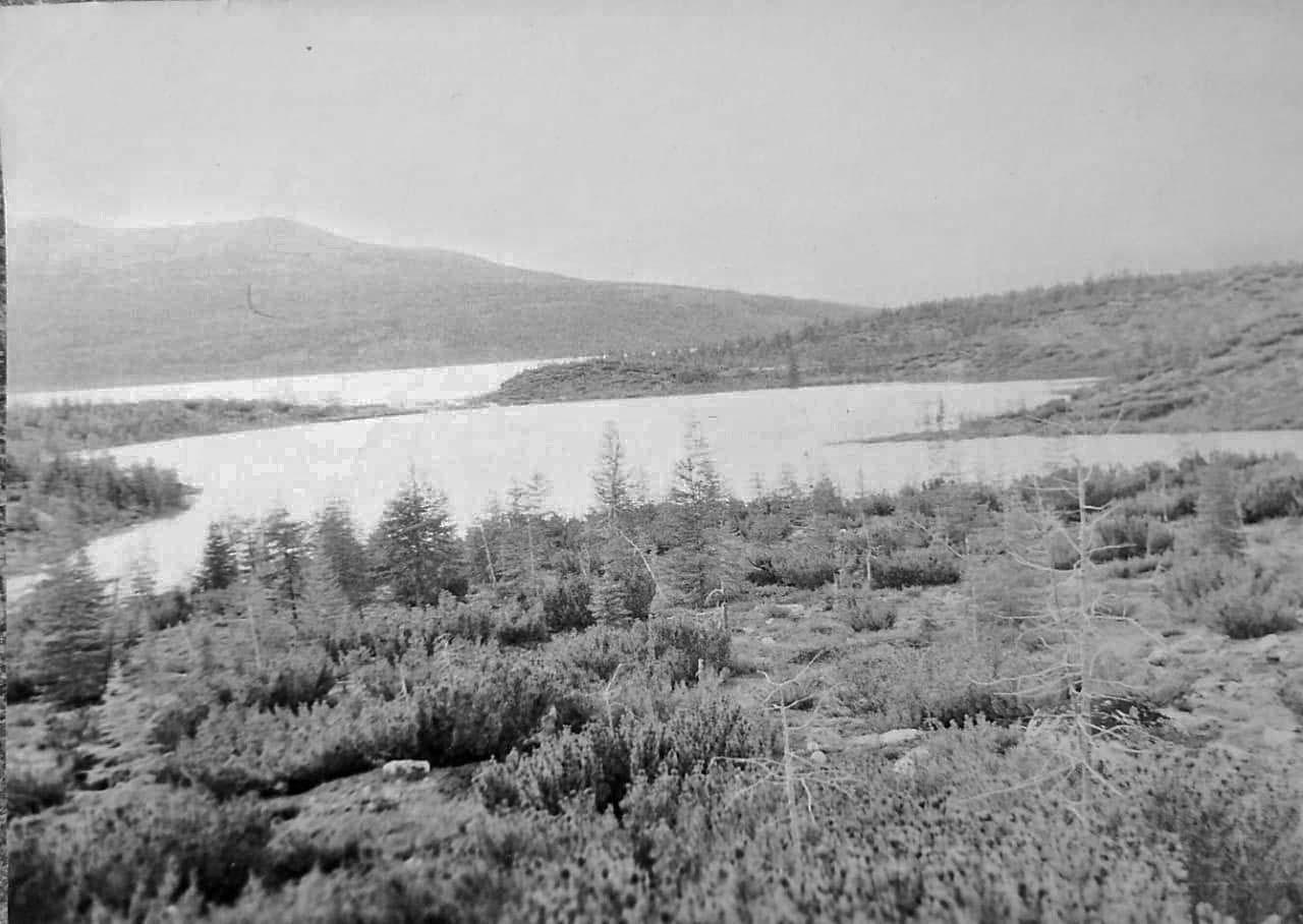Хариузятник. Слева из него вытекает Эльгенья. На дальнем плане - озеро Эльгенья. Из архива Валерия Мусиенко.
