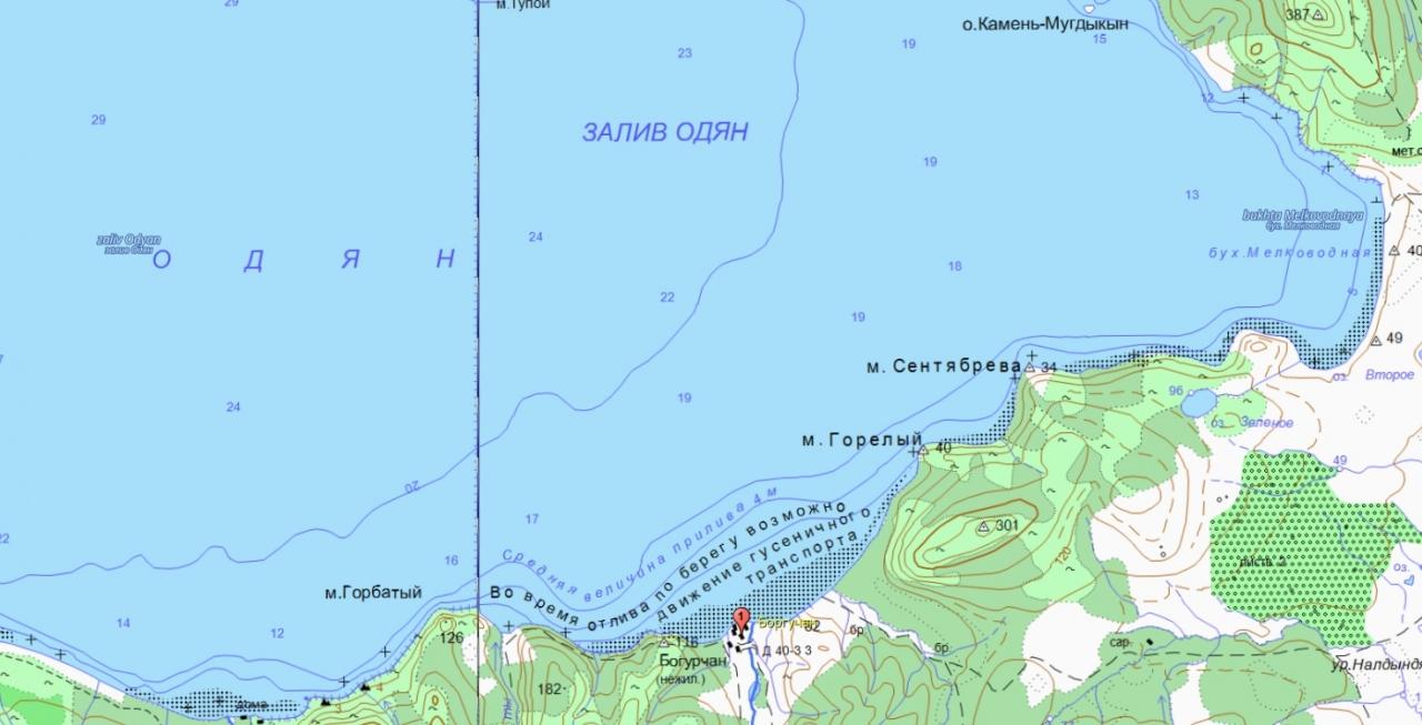 Часть карты залива Одян. Магаданская область.