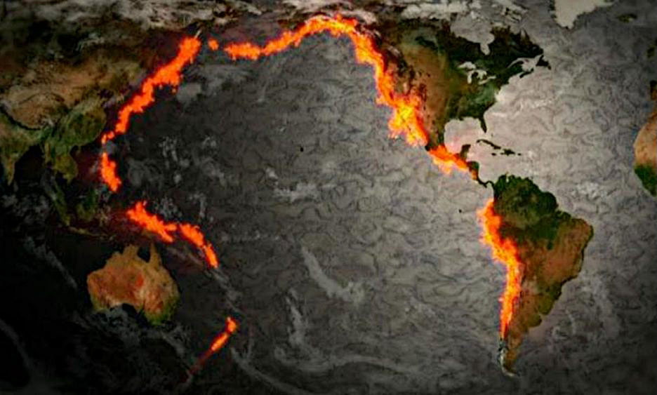 Тихоокеанское вулканическое огненное кольцо.