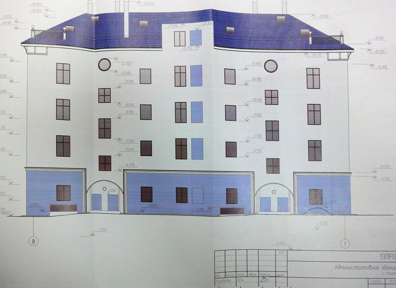 Проспект Ленина 16. Дворовой фасад. Проект В. Баля.