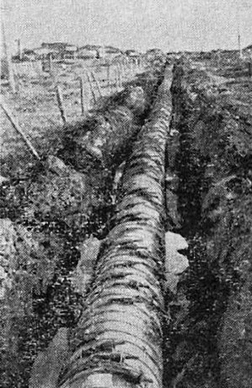 Магадан. Деревянный самотечный водопровод, введен в строй в 1946 году. Подавал воду из Каменушки в распределительные баки.
