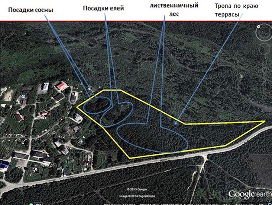 Схема расположения ООПТ Лосовский лес.