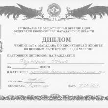 Диплом чемпионата по киокусинкай  Павлу Подпорину. 27.05.2017 года.