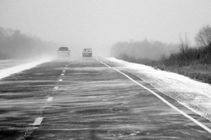Зимняя трасса.. Асфальтовый участок.. По колымским меркам - отличный участок дороги..