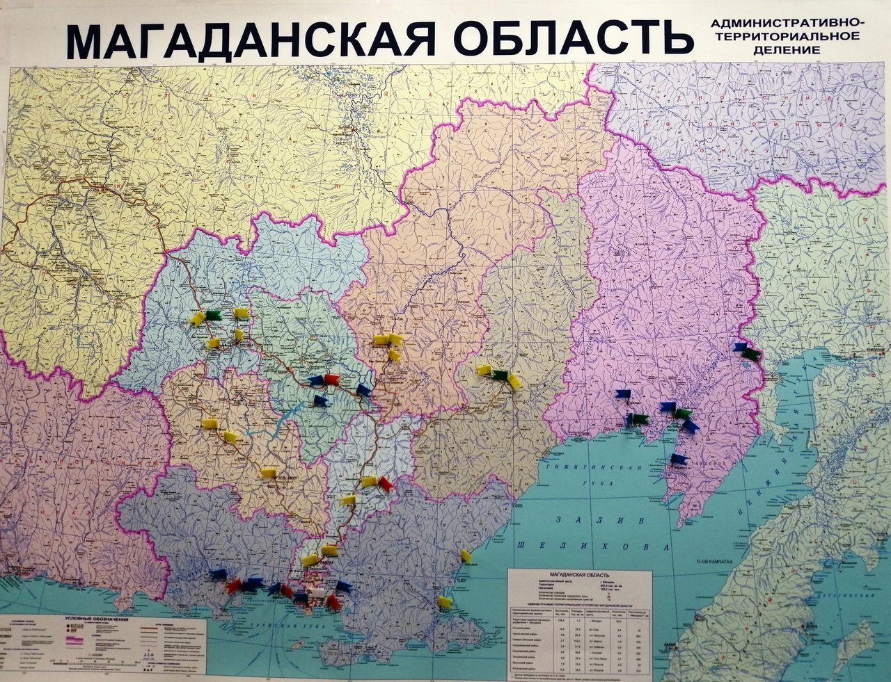 Карта Магаданской области. Флажками помечены участки размещения новых объектов по обращению с ТКО и объекты рекультивации.