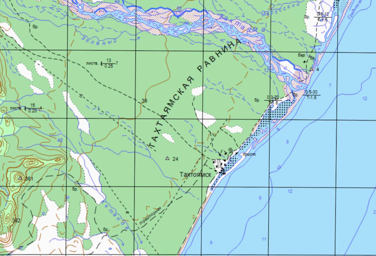 Тахтоямск на карте.