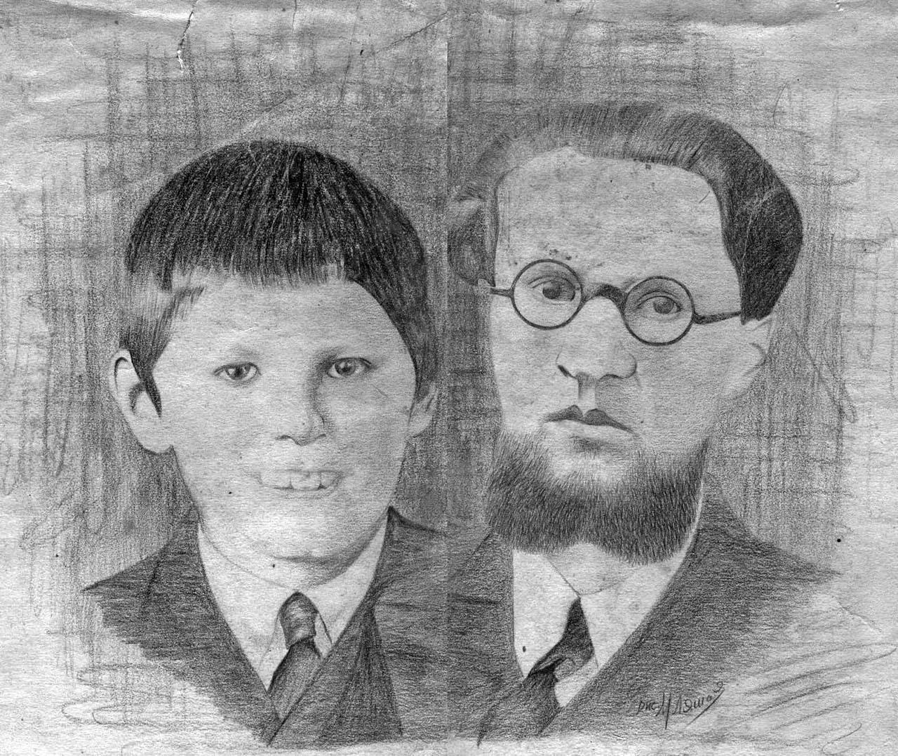 Коллаж: портрет отца с натуры, а брата Вадима —с фотографии. Рисовал рабочий отца, осужденный за фальшивомонетчество. Из архива Александра Лаломова.