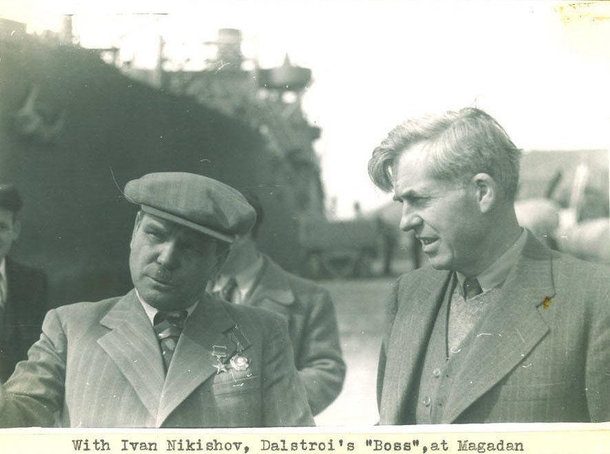 Иван Никишов и Генри Уоллес на причале Магаданского морпорта. Бухта Нагаева, 1944 год