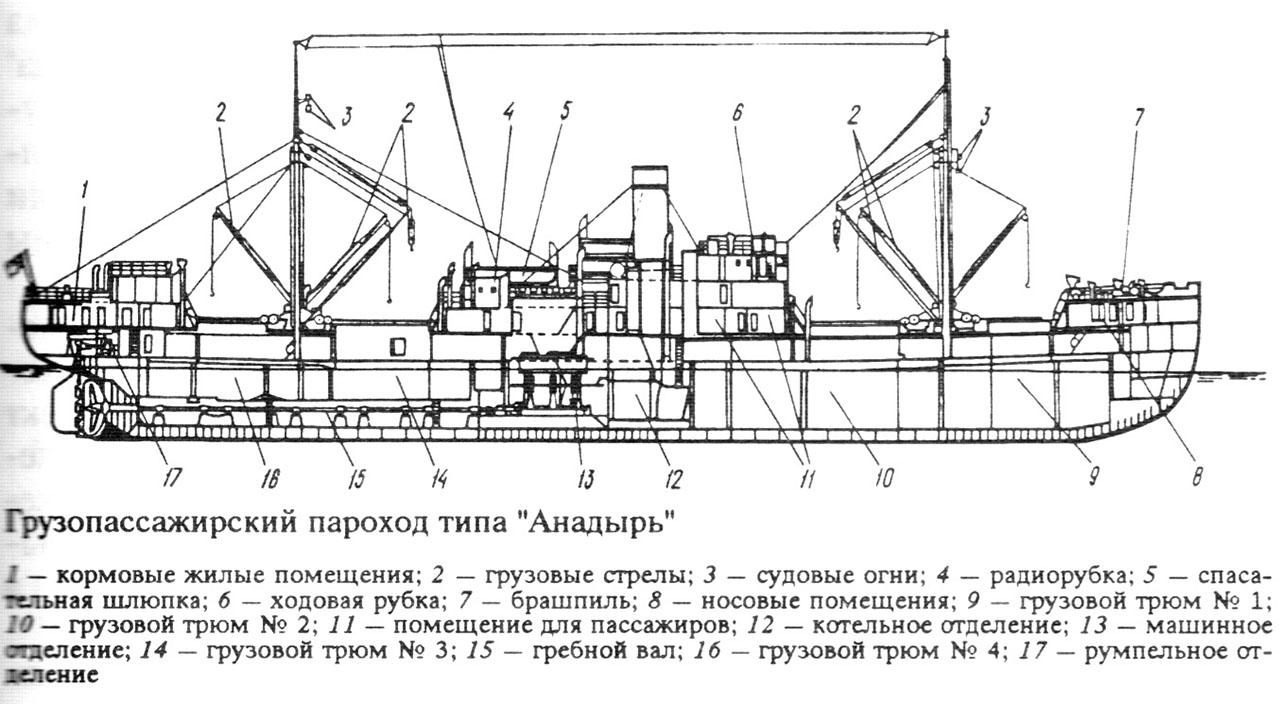 Схема грузопассажирского парохода типа «Анадырь».