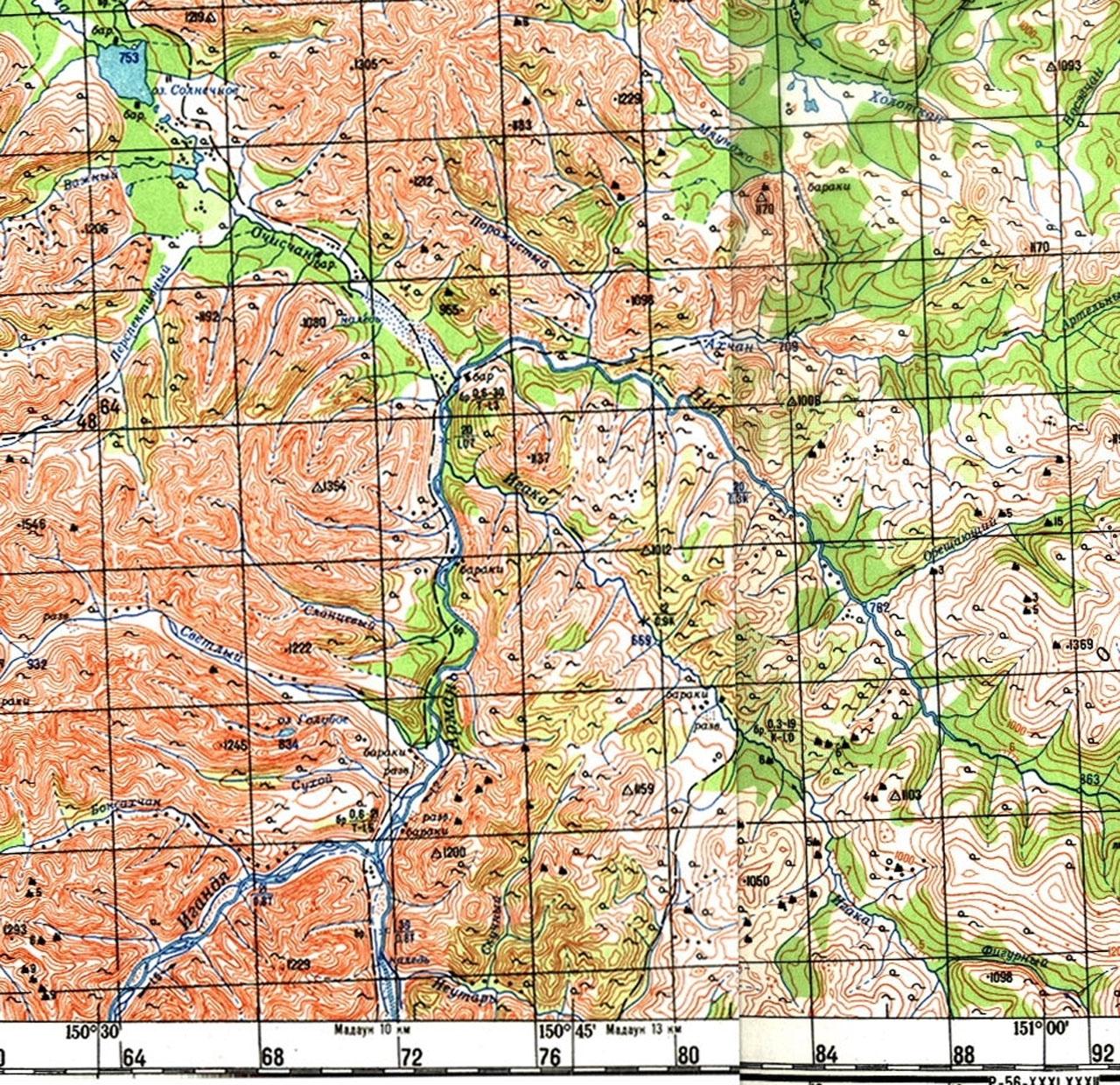 Топографическая карта. Река Нил.