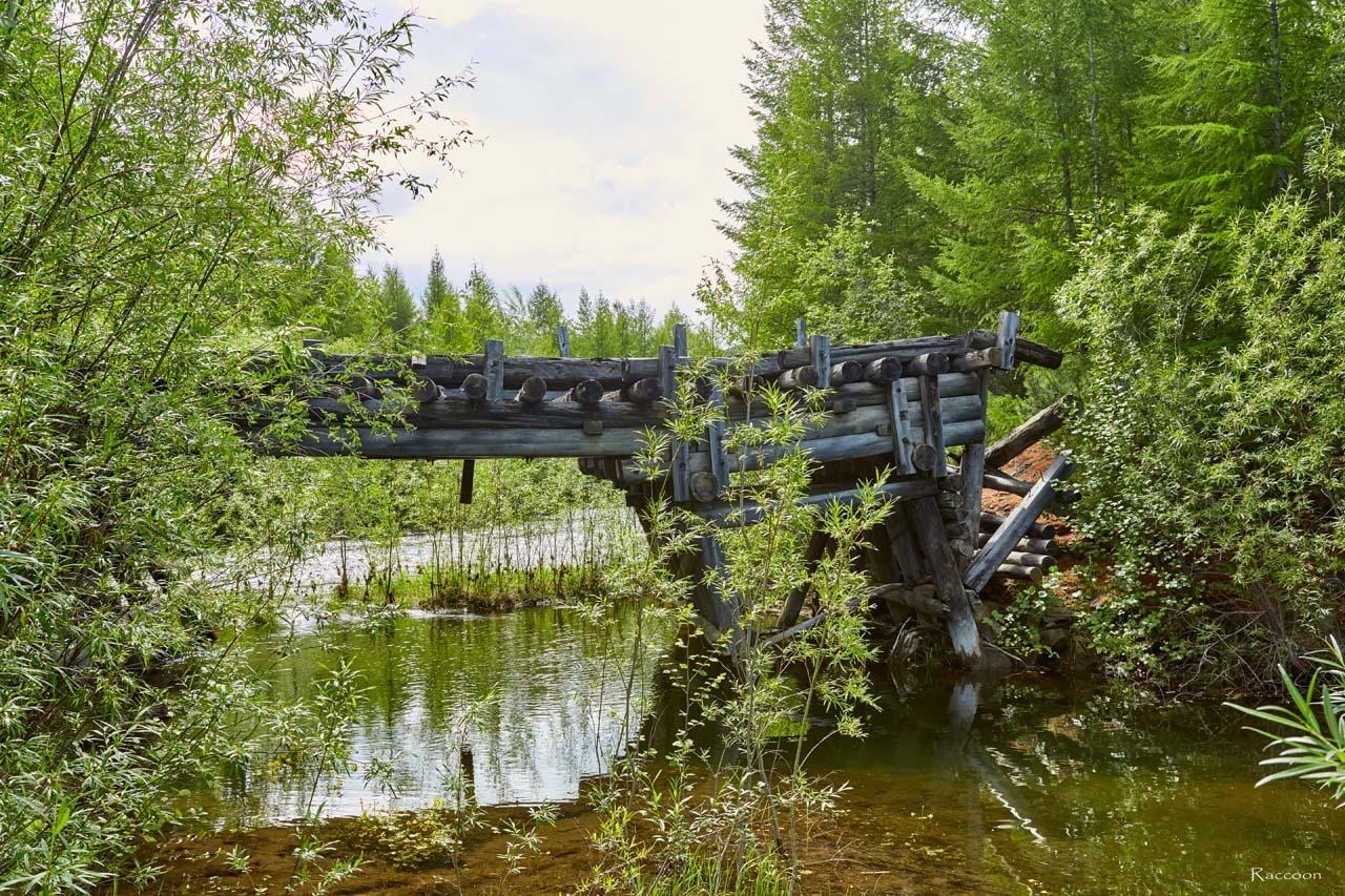 Мост времен Дальстроя через реку Дюрясь-Юряге по дороге на посёлок имени Чапаева.