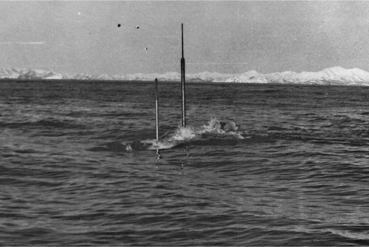 Очередной проход... С-176 работает с судном физических полей, замер шумности, 1983 год.