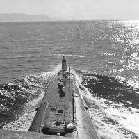 ПЛ С-224 в Тауйской губе следует в полигон на торпедные стрельбы. 1978 год.