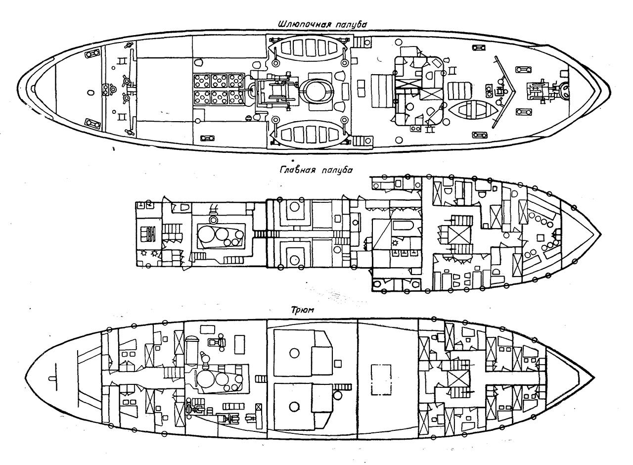 Буксирный морской пароход. Проект Фин-800. Вид по палубам.