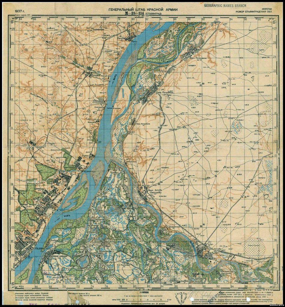 Карта Сталинграда.