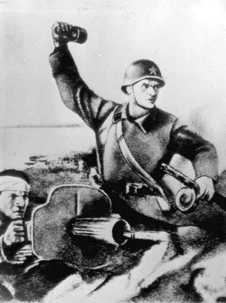 Отстоим Волгу-матушку. Плакат военного времени.