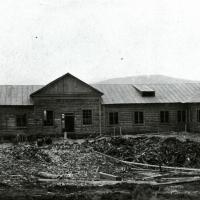 Строительство первой магаданской гостиницы.