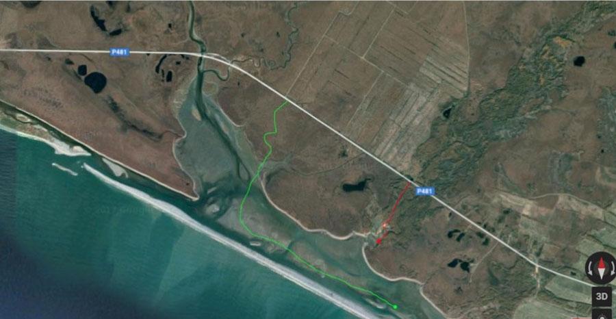 Вид лимана сверху. Слева Ойра, по центру Широкая и Ольховка, а справа Армань (только в кадр не вошла).
