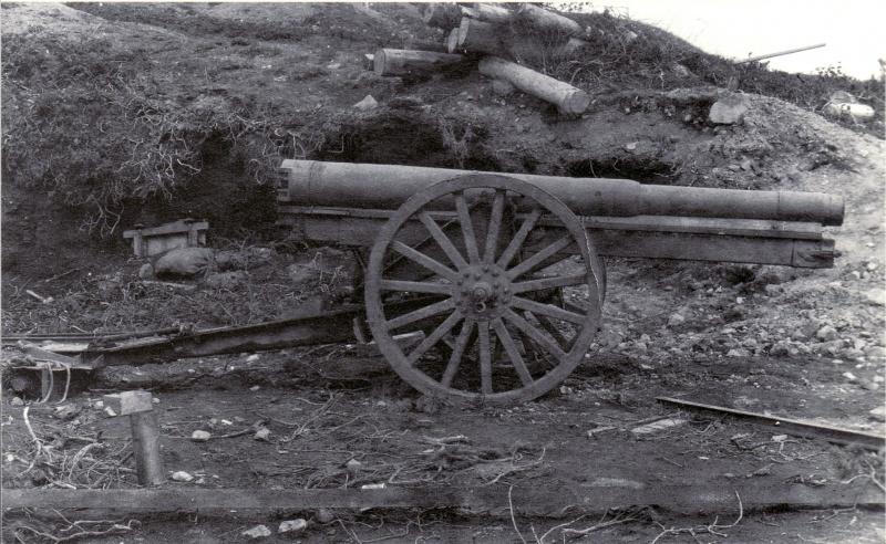 Японское 105-мм орудие тип 38, захваченное советскими войсками на острове Шумшу.