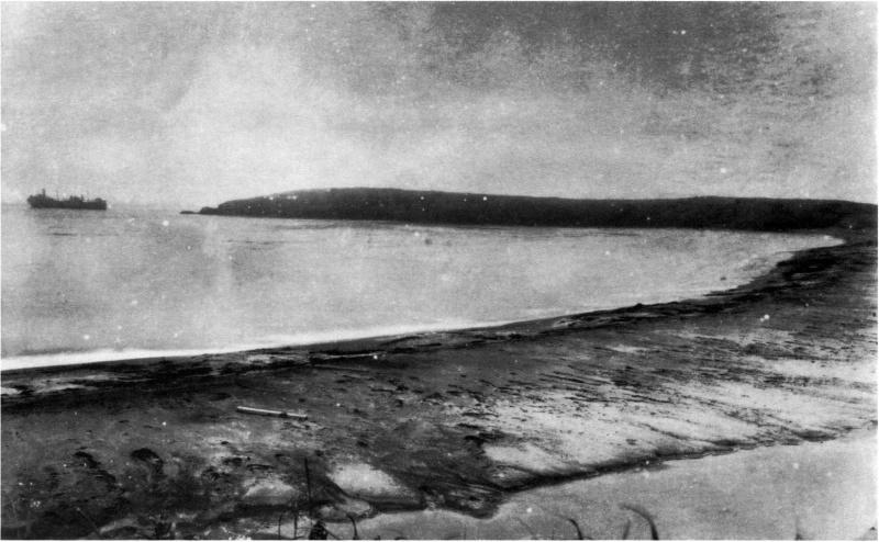 Пляж на острове Шумшу, где произошла высадка десанта. Левее виден сидящий на мели советский танкер «Мариуполь».